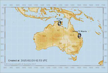 Map of Cyclone Marcia and TC Lam